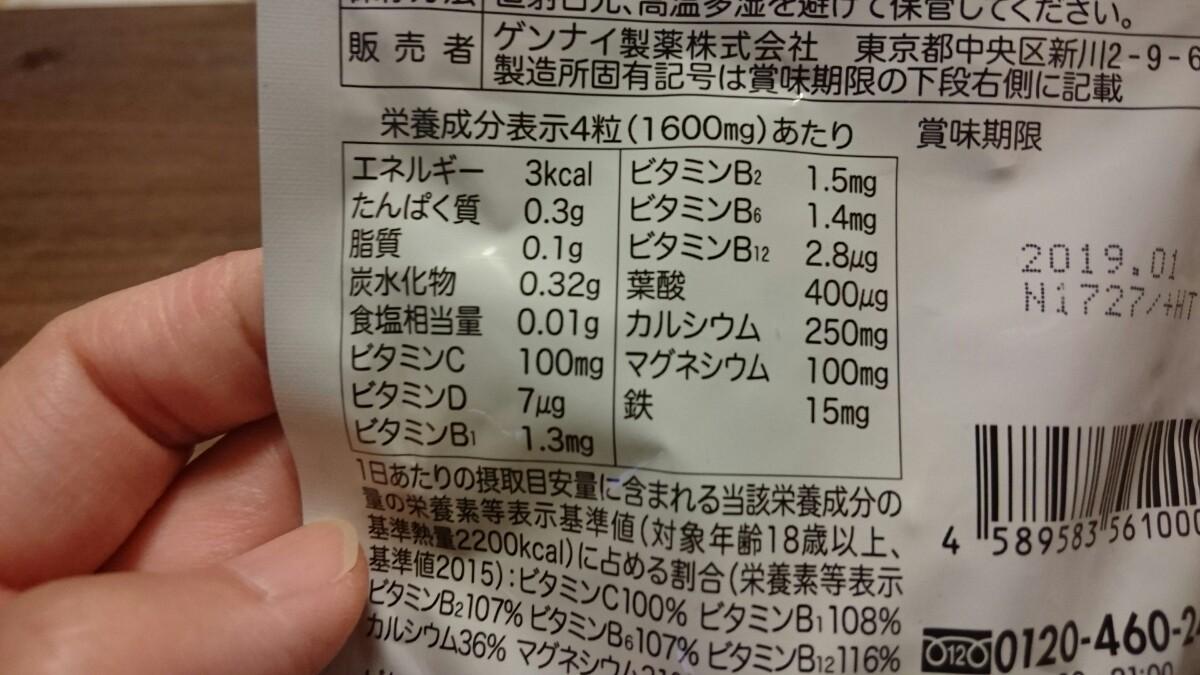 プレミンの葉酸サプリの栄養成分表示